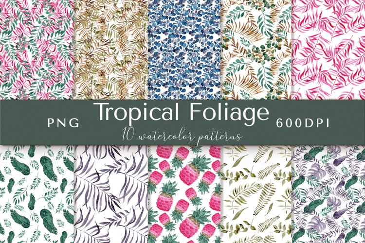 Tropical Foliage Watercolor Patterns example image 1