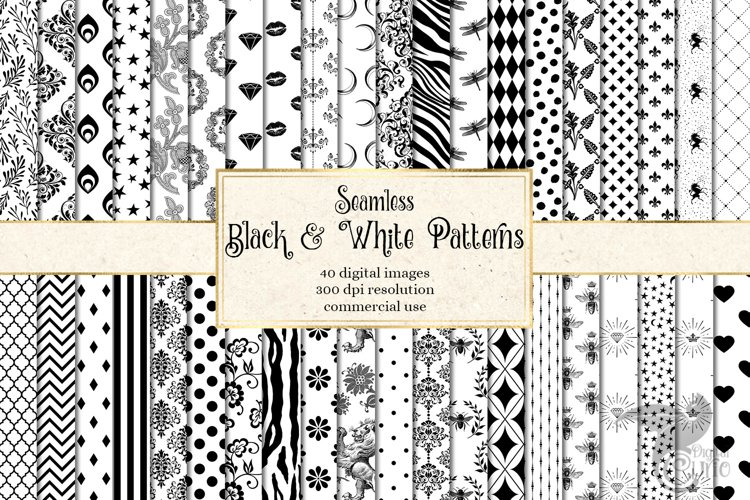 Black and White Patterns Digital Paper