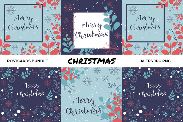 Vector Christmas postcards printable bundle example image 1