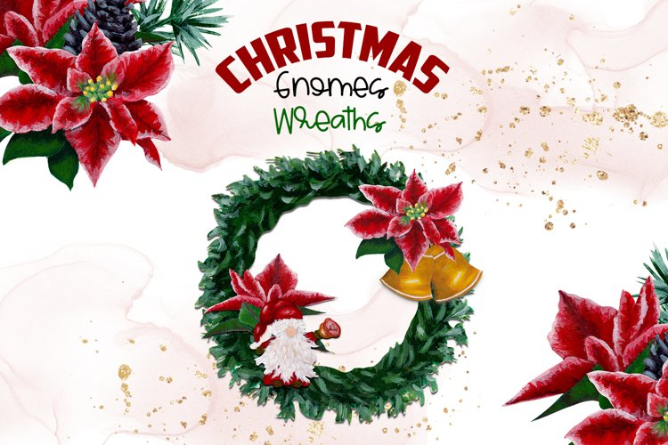 Watercolor Christmas Gnomes Wreaths