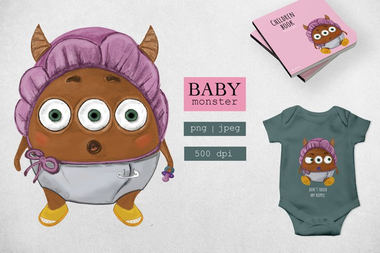 Baby little monster cute and funny example image 1
