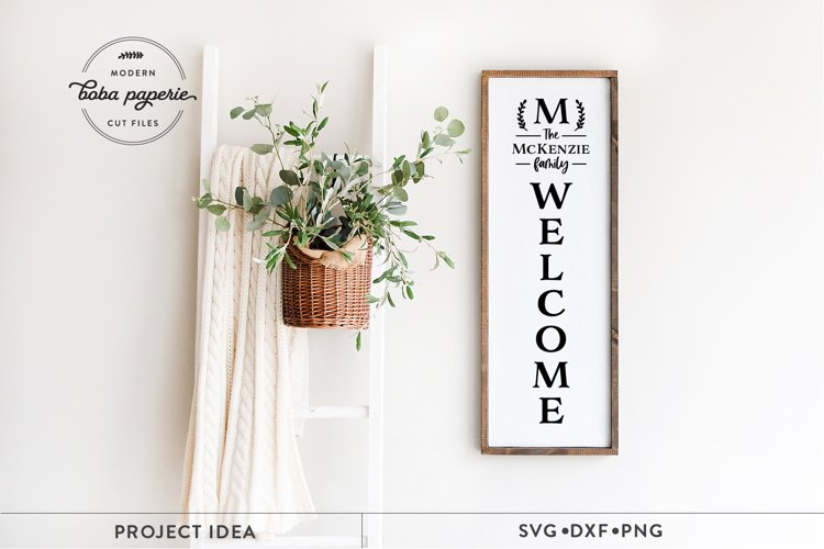 Family Name Welcome Sign svg, vertical Porch sign