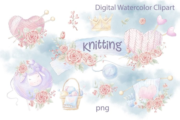 Watercolor Clipart Knitting example image 1