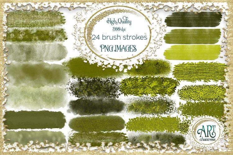 Olive Moss Green Sap Brush Strokes Clipart Autumn Golden