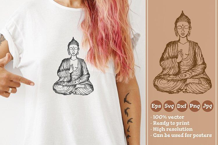 Sitting Buddha T-shirt Illustration SVG File example image 1