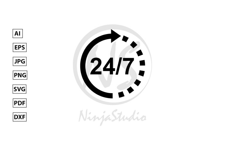 Support 24/7 Icon In Flat Style Vector example image 1