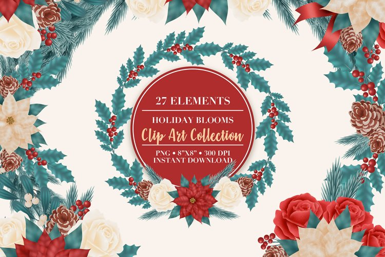 Christmas Flower Clip Art example image 1