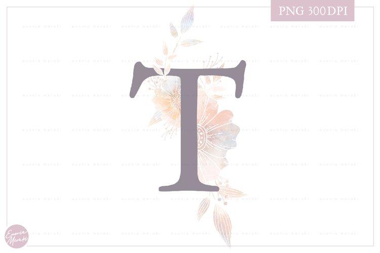 MONOGRAM Letter T Elegant Floral Monogram - Flower alphabet example image 1