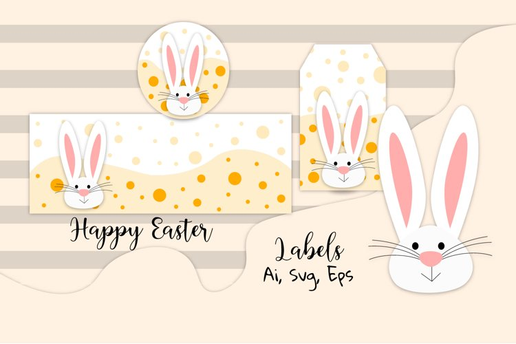 Easter labels. Easter bunny svg. Vector easter decorations. example image 1