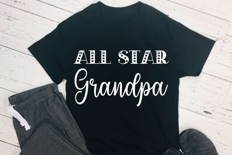 All Star Grandpa Cut File - SVG & PNG example image 1