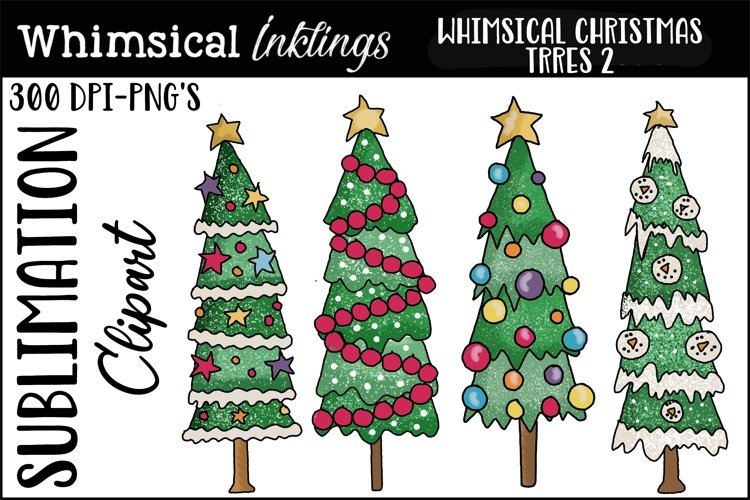 Whimsical Christmas Trees 2 Sublimation Clipart example image 1