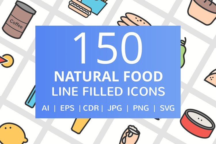 150 Natural Food Filled Line Icons example image 1