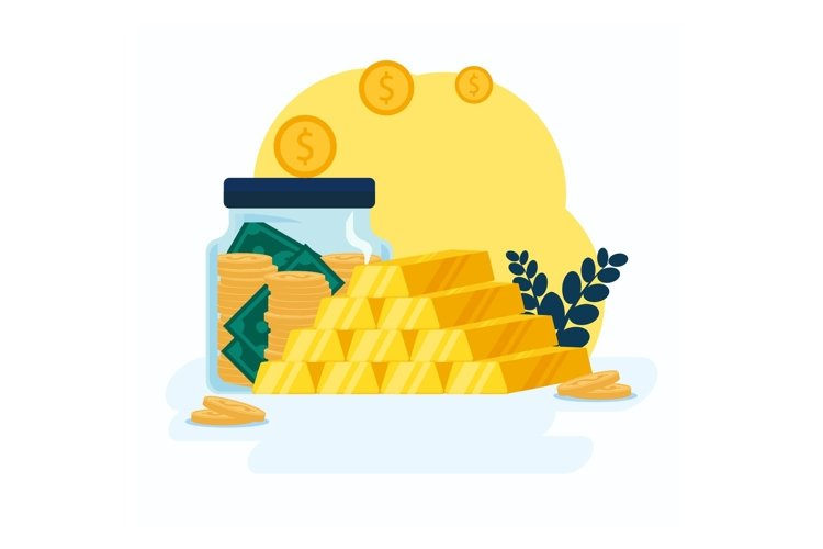 Gold Investment background in flat style example image 1