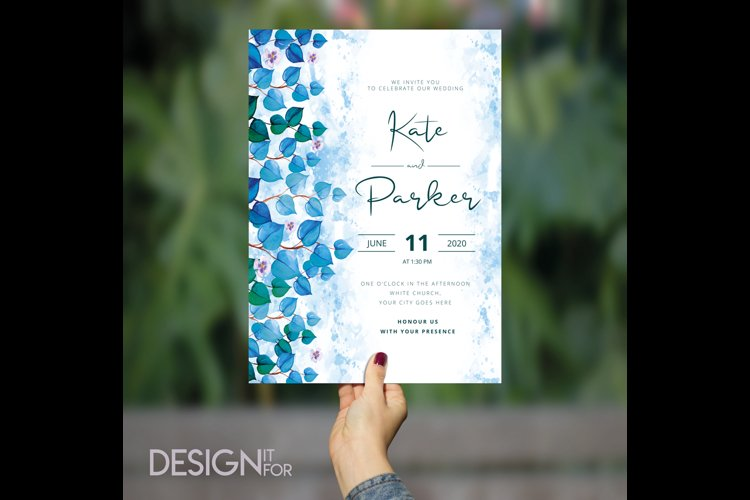 Blue Greenery Wedding Invitation Template Details and RSVP example image 1