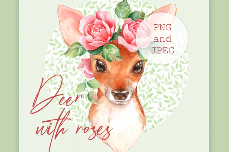Fawn with pink roses. Clipart example image 1