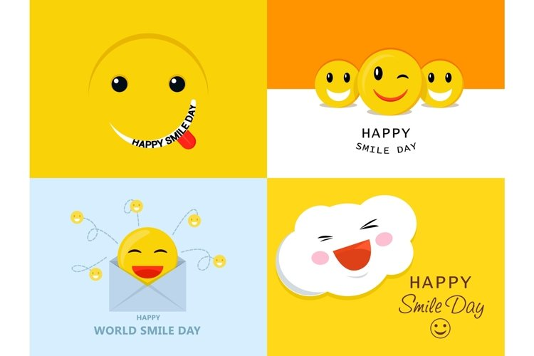 Smile Day banner set, flat style example image 1