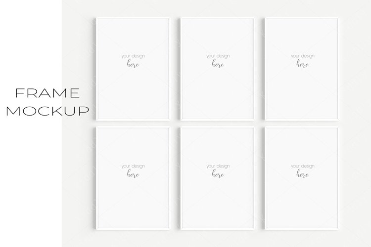 A4 White Frame Mockup Set of 6/JPG PNG PSD Smart Object/M126 example image 1