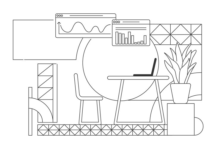 Business analyst home office interior design illustration example image 1