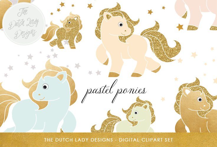 Pastel & Golden Ponies Clipart Set example image 1