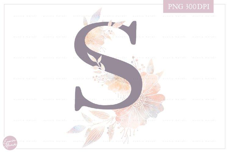 Letter S Floral MONOGRAM - elegant flower initial example image 1