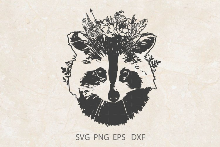 Face Raccoon SVG PNG DXF /Wild Animal Svg example image 1