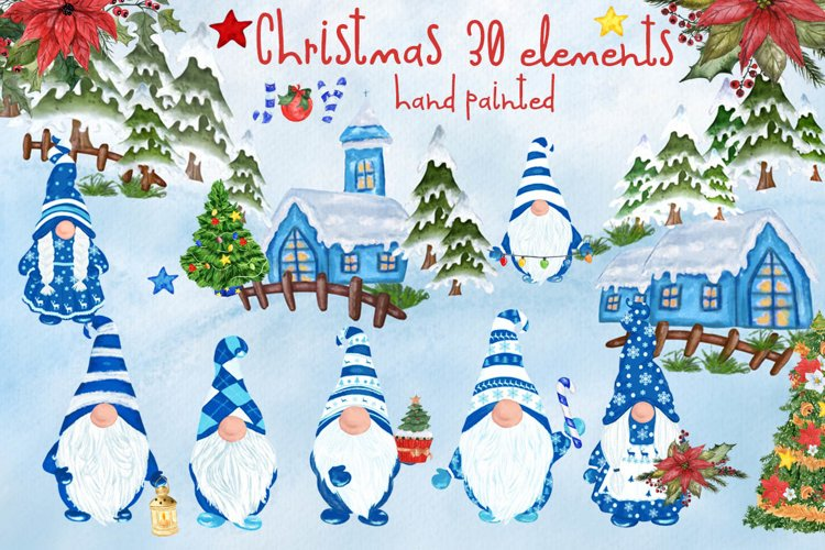 Gnomes Clipart Christmas clipart Christmas flowers Winter example image 1