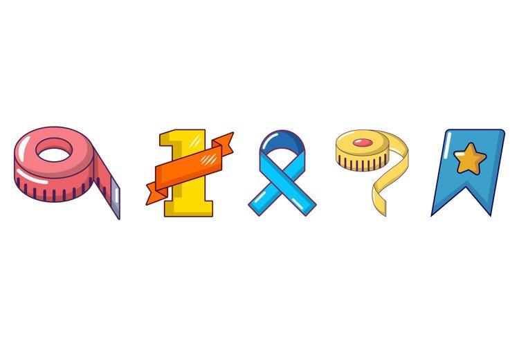 Ribbon icon set, cartoon style example image 1