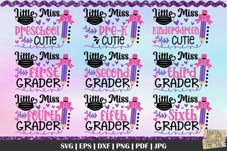Little Miss SVG | Back to school bundle | School quotes svg example image 1