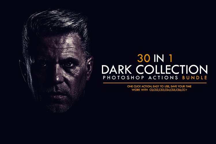 30 In 1 Dark Collection Photoshop Actions Bundle example image 1
