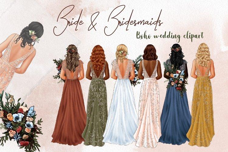 Bride and bridesmaids wedding clipart, wedding dress
