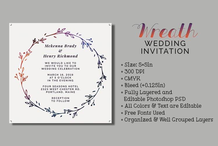 Wreath Wedding Invitation example image 1