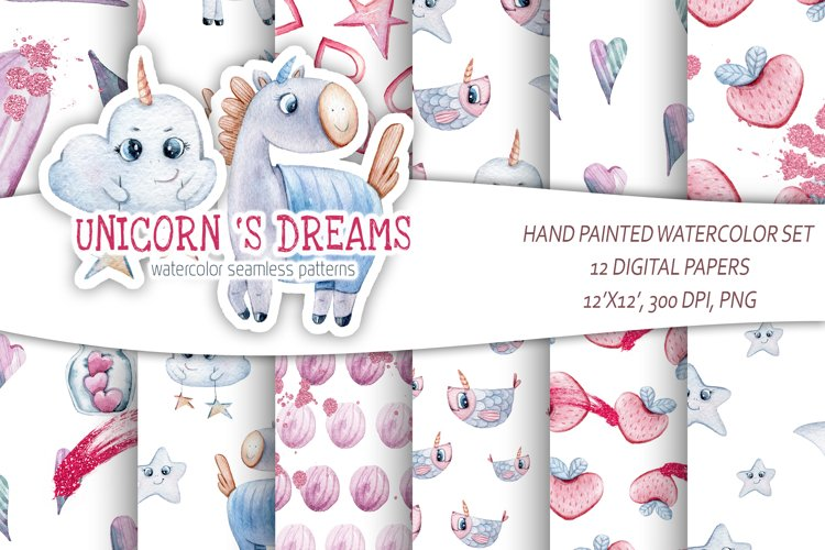 Watercolor unicorn seamless pattern. Digital scrapbook paper