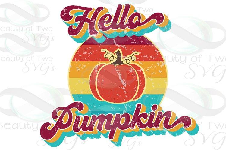 Hello Pumpkin Vintage Retro Distressed Sublimation png 300 example image 1