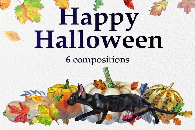 Halloween black cats and pumpkins example image 1