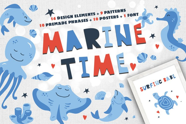 Marine Time kids vector Illustrations and patterns kit