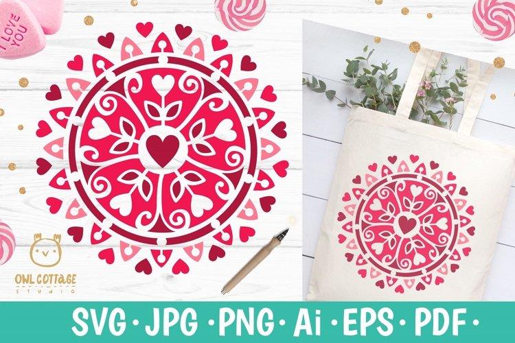 Valentine Mandala with hearts svg , valentines day decor example image 1