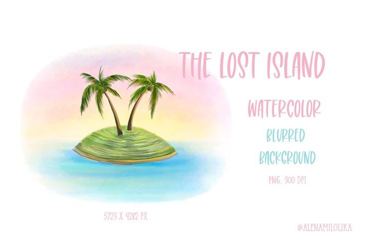 Watercolor Lost Island. Summer. Vacation