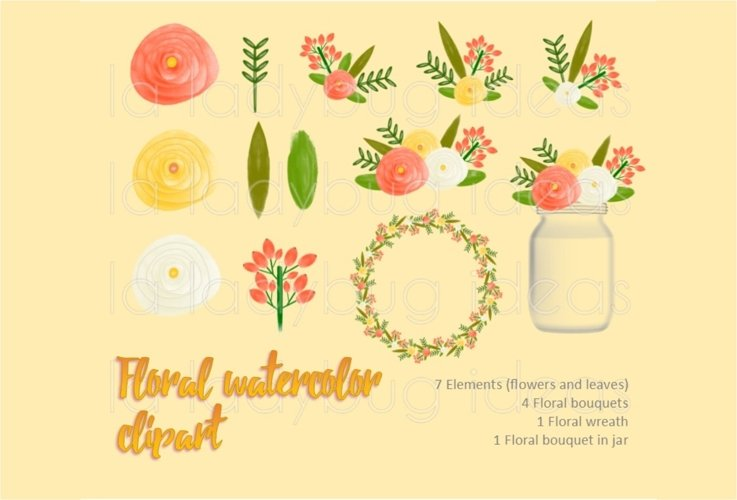Orange and yellow floral watercolor clip art collection.  example image 1