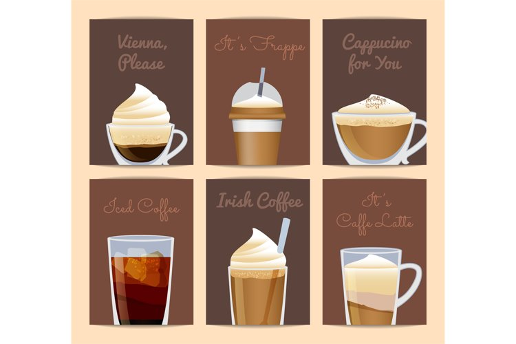 Vector different filled coffee cups card templates with plac example image 1