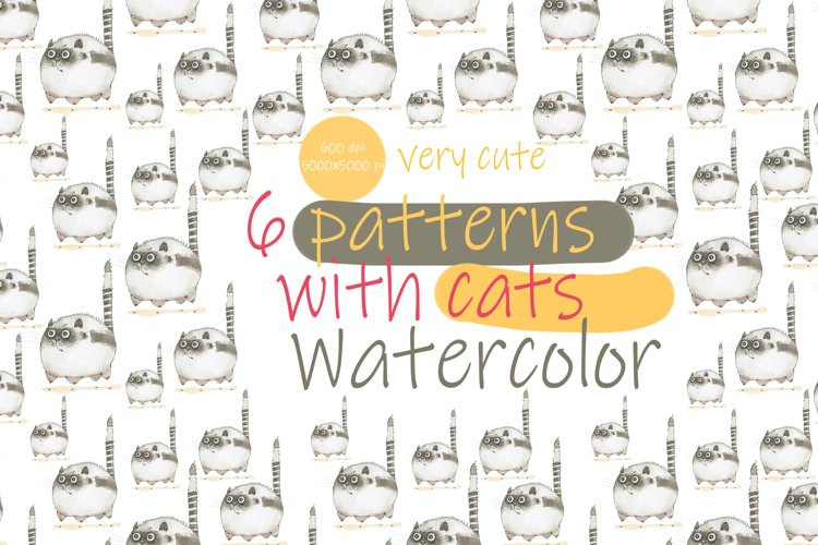 Cat patterns. Watercolor.