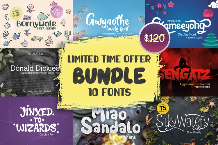 Limited time offer!! adeviostudio font bundle 01 example image 1