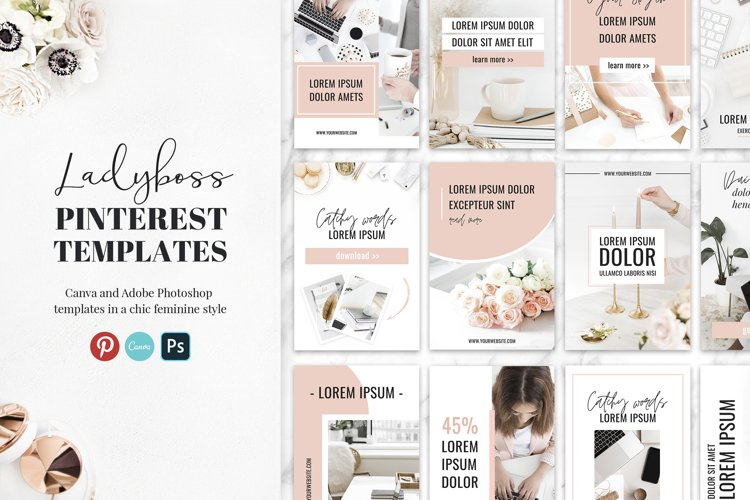 Ladyboss Pinterest Templates for Canva and Photoshop