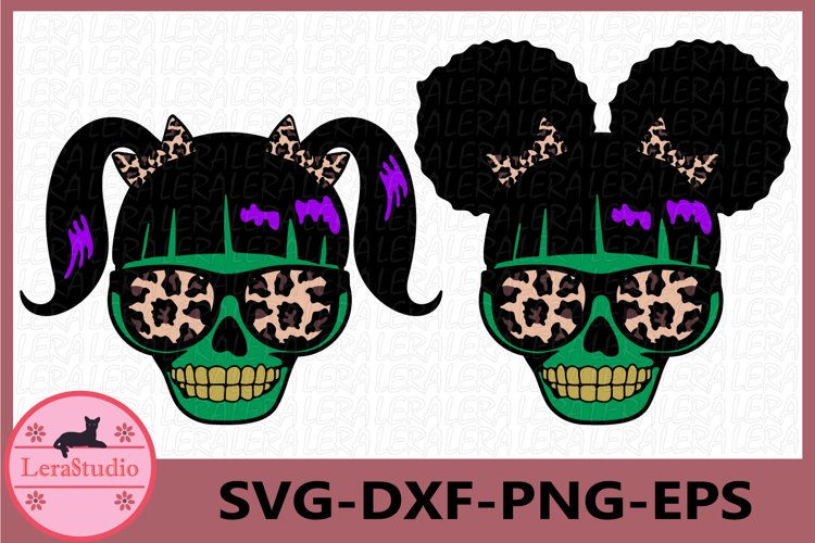Spooky little Girl Skull Svg, Monster Skeleton svg, Skull example image 1