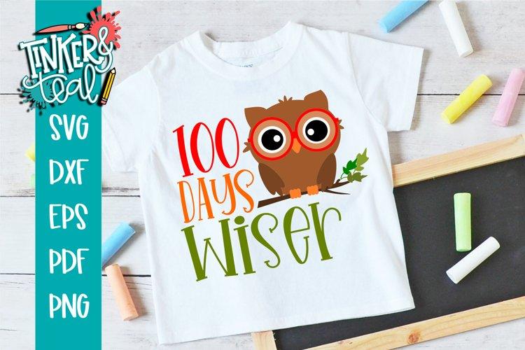 100 Days Wiser Boy Owl - School SVG example image 1
