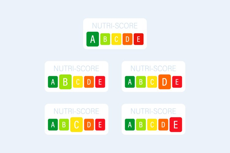 Nutri Score vertical stickers set. Score system sign. Vector example image 1