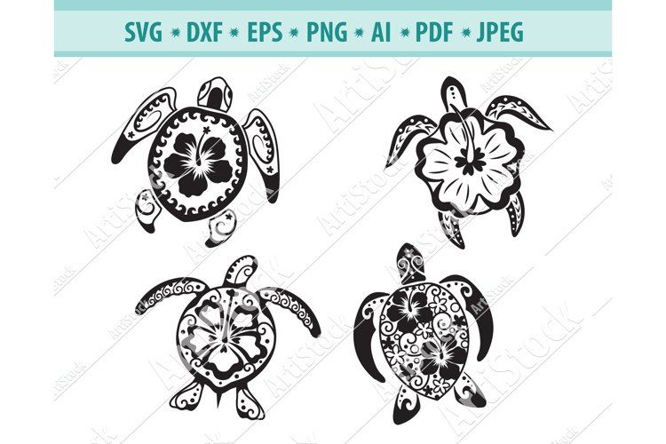 Sea turtle Svg, Tropical flowers Svg, Hawaii Eps, Dxf, Png