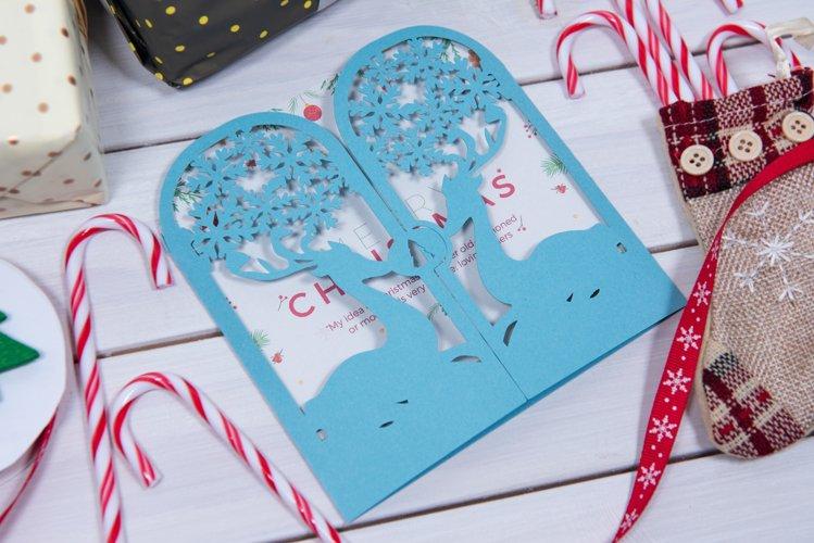 Christmas Reindeer Invitation cutting file example image 1