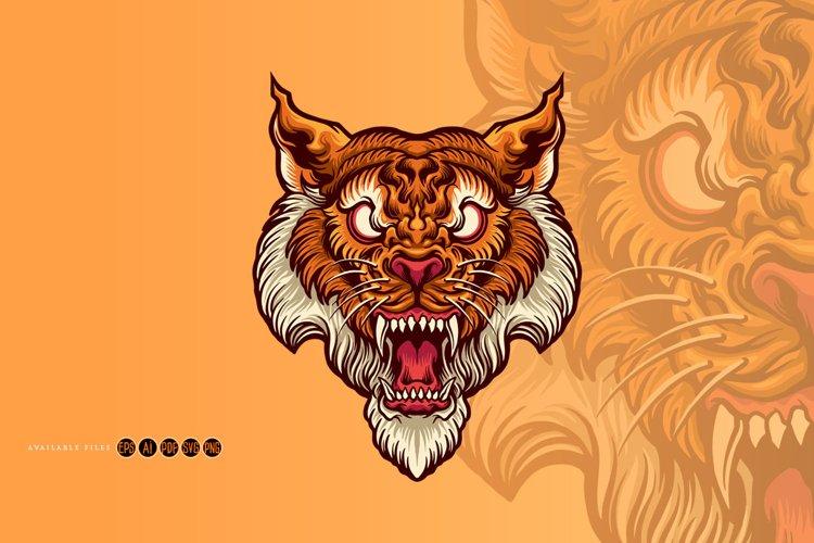 Tiger Head Art Style Tattoo Illustrations