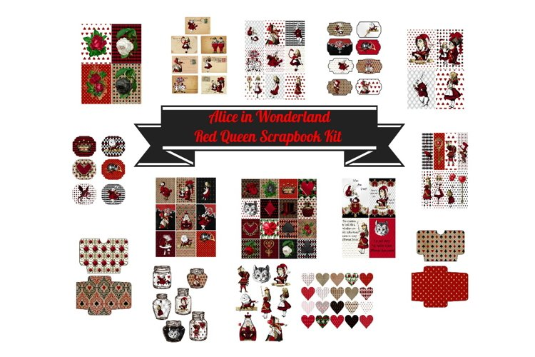 Alice in Wonderland Journal or Scrapbook Kit PDF example image 1