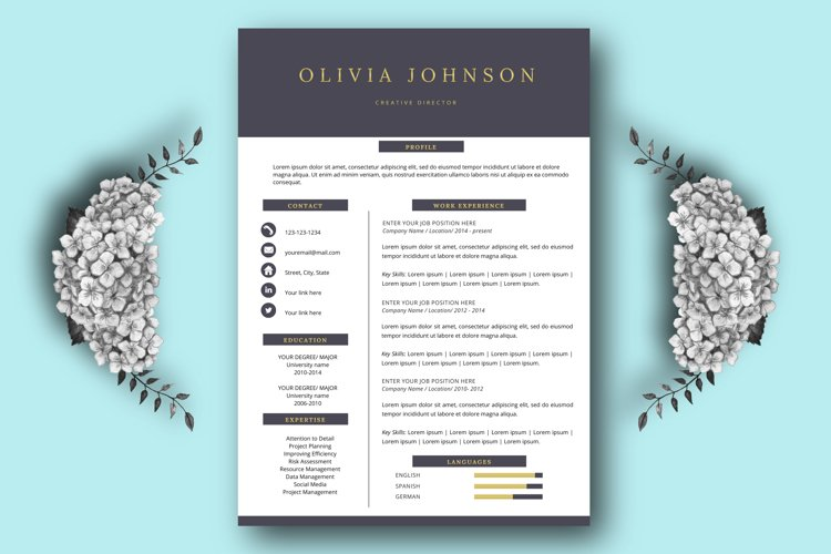 Resume template, one page resume example image 1